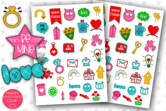 Print on Demand: Cute Valentines Day Planner Stickers Graphic Crafts By Happy Printables Club