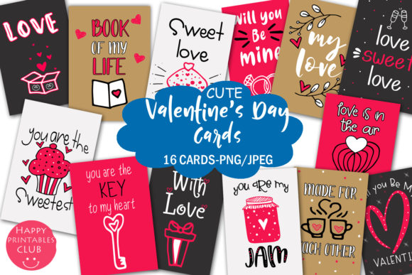 Print on Demand: Cute Valentine's Day Cards-Valentines Graphic Illustrations By Happy Printables Club