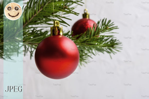 Print on Demand: Christmas Background with Red Ornament Graphic Holidays By TasiPas - Image 1