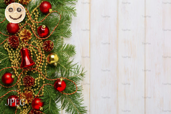Download Free Christmas Background With Golden Beads Graphic By Tasipas for Cricut Explore, Silhouette and other cutting machines.