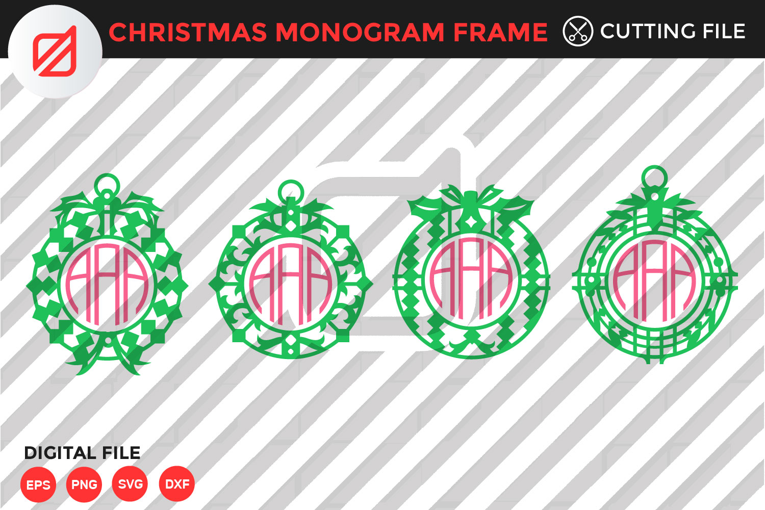 Download Free Christmas Monogram Frame Cutting File Graphic By Illusatrian for Cricut Explore, Silhouette and other cutting machines.