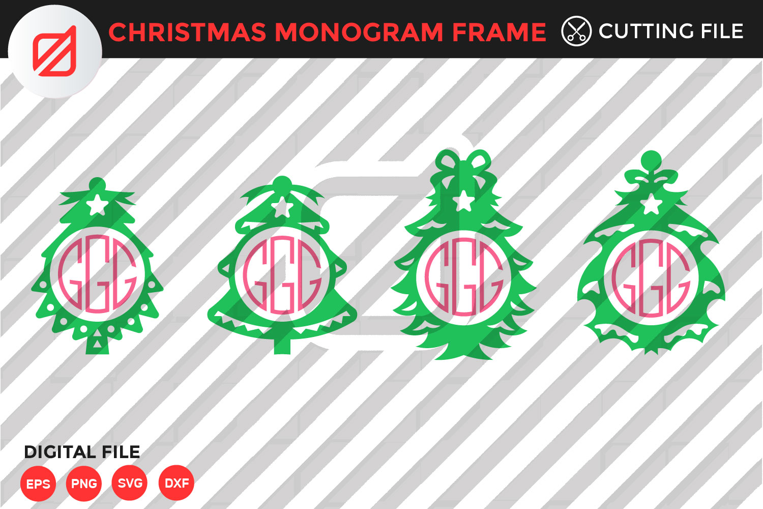 Christmas Monogram Frame Cutting File Graphic By Illusatrian