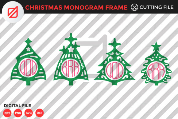 Christmas Monogram Frame Cutting File Graphic Crafts By illusatrian