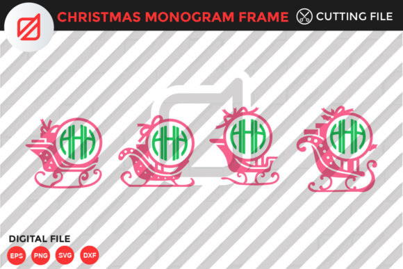 Print on Demand: Christmas Monogram Frame Cutting File Graphic Crafts By illusatrian