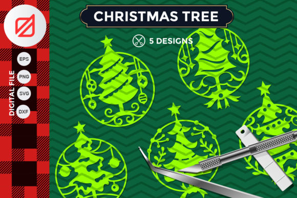 Download Free Christmas Tree Ornament Cutting File V1 Graphic By Illusatrian for Cricut Explore, Silhouette and other cutting machines.