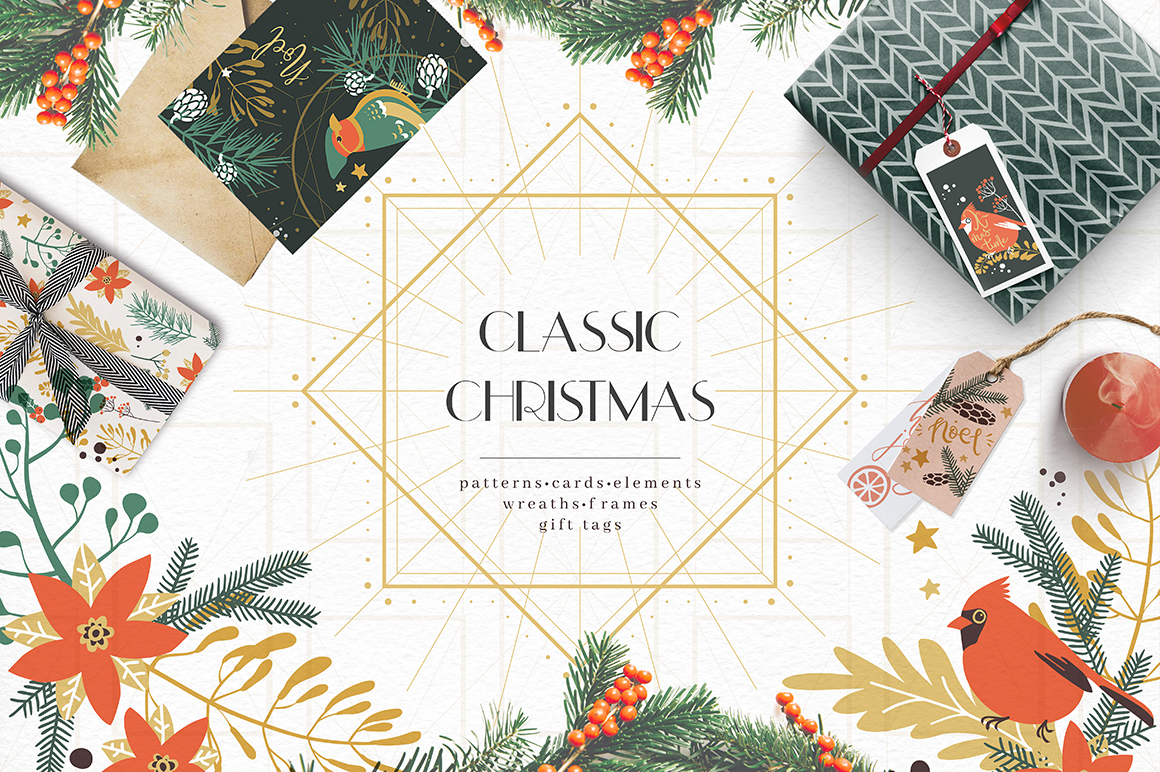 Download Free Classic Christmas Winter Clipart Set Graphic By Dinkoobraz for Cricut Explore, Silhouette and other cutting machines.
