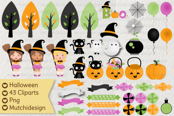 Print on Demand: Halloween Cliparts Graphic Illustrations By Mutchi Design