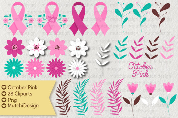 Print on Demand: October Pink Cliparts Graphic Illustrations By Mutchi Design