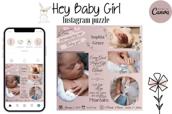 Print on Demand: Baby Girl Instagram Puzzle Template Graphic Instapage By The Little Crafty Shop