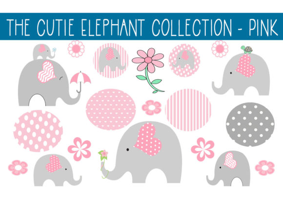 Print on Demand: Cutie Elephant Collection - Pink Graphic Illustrations By CapeAirForce