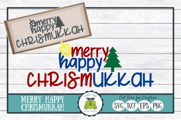 Download Free Merry Happy Chrismukkah Graphic By Funkyfrogcreativedesigns for Cricut Explore, Silhouette and other cutting machines.