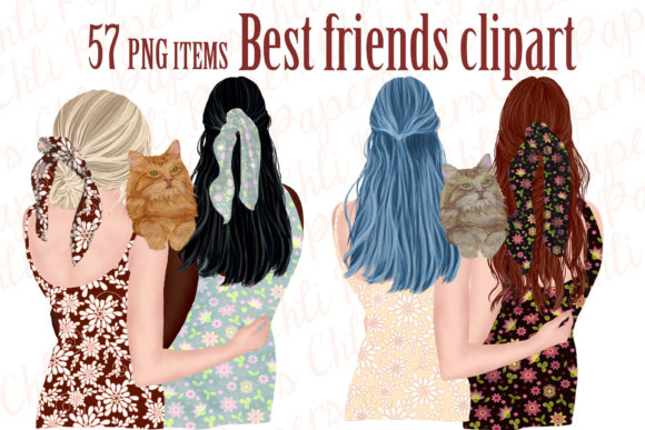 Best Friends Clipart,Girls and Cats Graphic Illustrations By ChiliPapers