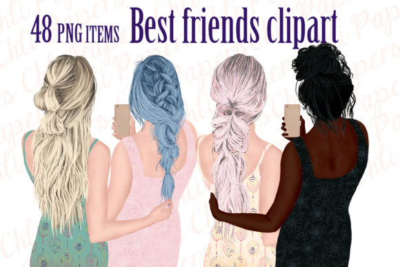 Best Friends Clipart Girls with Phones Graphic Illustrations By ChiliPapers - Image 1