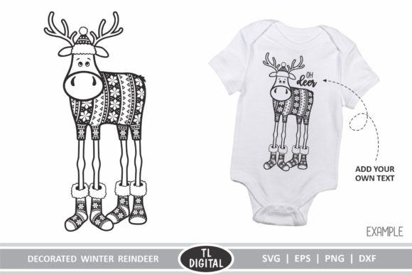 Download Free Decorated Reindeer Christmas Cut File Graphic By Tl Digital for Cricut Explore, Silhouette and other cutting machines.