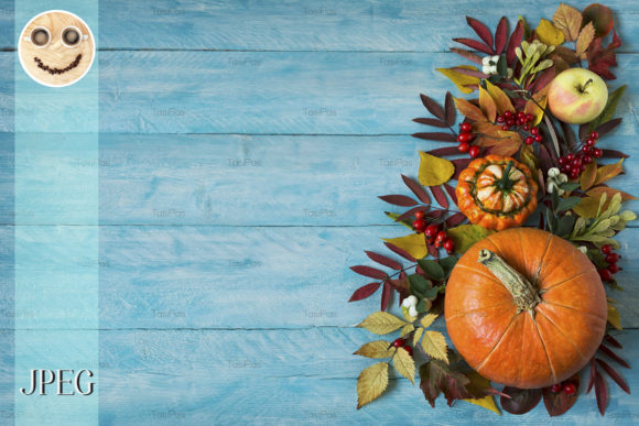 Print on Demand: Fall Border of Apples, Berries, Pumpkins Graphic Holidays By TasiPas
