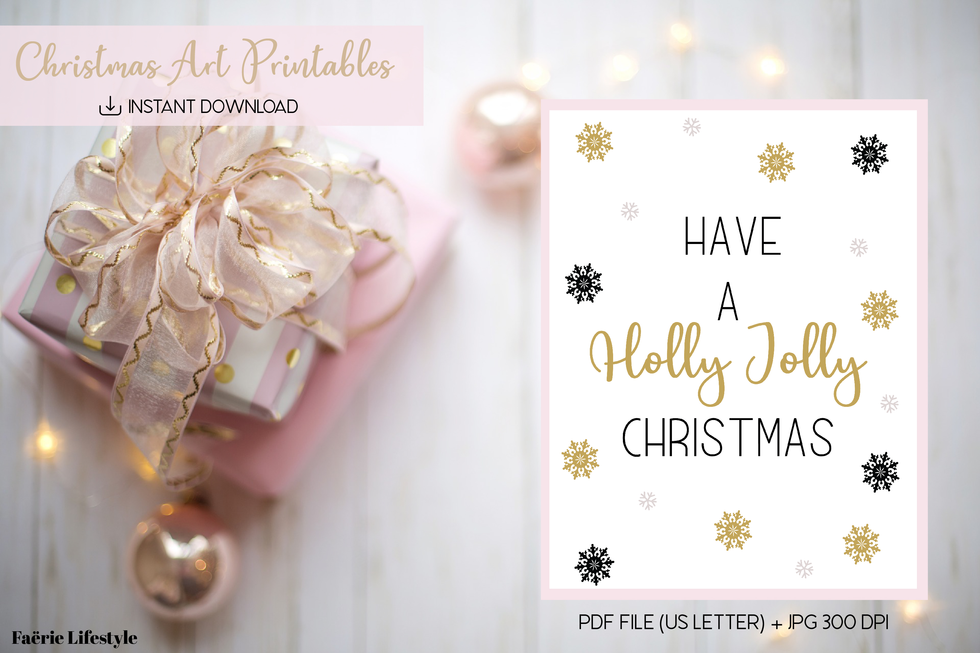 Holly Jolly Christmas Printable Art Graphic By Faerie Lifestyle