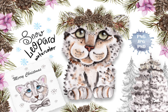 Print on Demand: Snow Leopard Watercolor Set Graphic Illustrations By tanatadesign