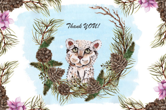 Print on Demand: Snow Leopard Watercolor Set Graphic Illustrations By tanatadesign - Image 11