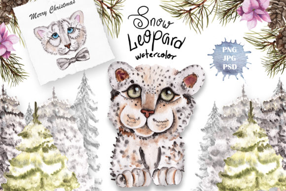 Print on Demand: Snow Leopard Watercolor Set Graphic Illustrations By tanatadesign - Image 2