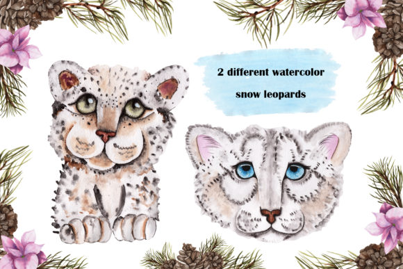 Print on Demand: Snow Leopard Watercolor Set Graphic Illustrations By tanatadesign - Image 3