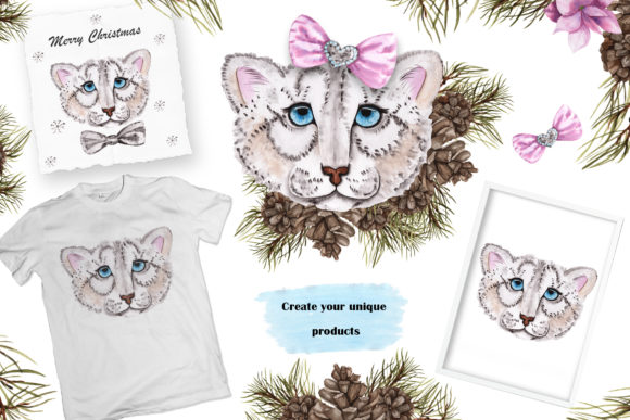 Print on Demand: Snow Leopard Watercolor Set Graphic Illustrations By tanatadesign - Image 6