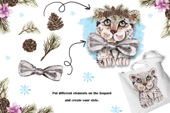 Print on Demand: Snow Leopard Watercolor Set Graphic Illustrations By tanatadesign - Image 9