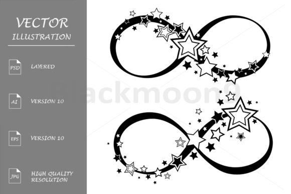 Infinity Symbol with Stars Graphic Illustrations By Blackmoon9