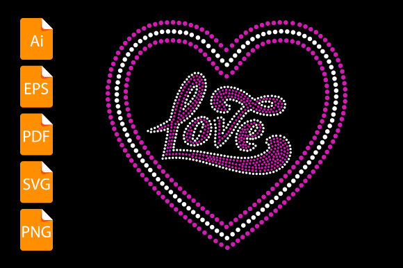 Print on Demand: Love (Rhinestone) Graphic Print Templates By Graphicflow