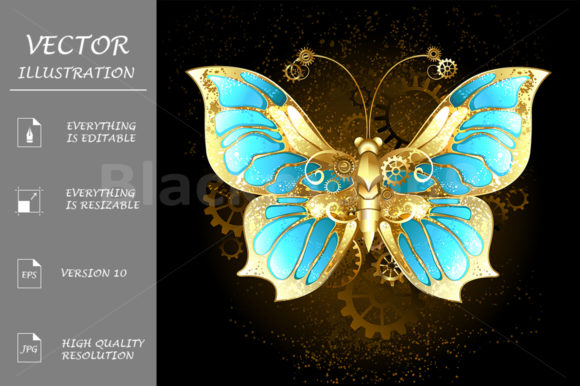 Mechanical Butterfly Graphic Illustrations By Blackmoon9