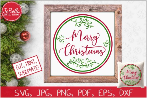 Download Free Merry Christmas With Vines Graphic By Jobella Digital Designs for Cricut Explore, Silhouette and other cutting machines.