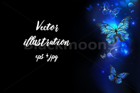 Morpho Butterfly in the Dark Graphic Illustrations By Blackmoon9