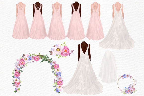 Wedding Clipart Brides Clipart Graphic Illustrations By LeCoqDesign - Image 2