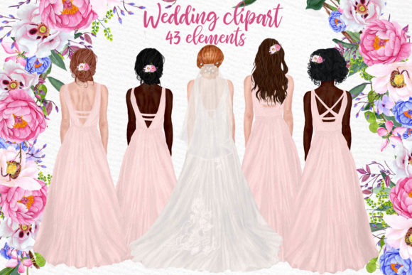 Wedding Clipart Brides Clipart Gráfico Ilustraciones Por LeCoqDesign