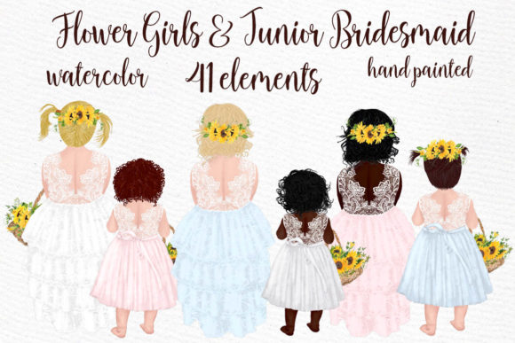Flower Girl Clipart Wedding Clipart Graphic Illustrations By LeCoqDesign