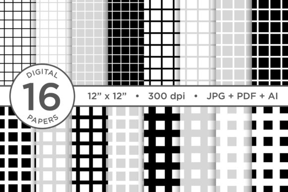 Print on Demand: Black & White Seamless Grid Digital Pape Graphic Patterns By Running With Foxes