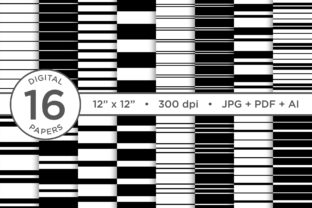 Print on Demand: Black & White Seamless Striped Patterns Graphic Patterns By Running With Foxes 1