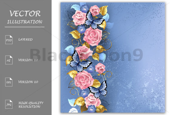 Pink Roses and Butterflies Graphic Illustrations By Blackmoon9