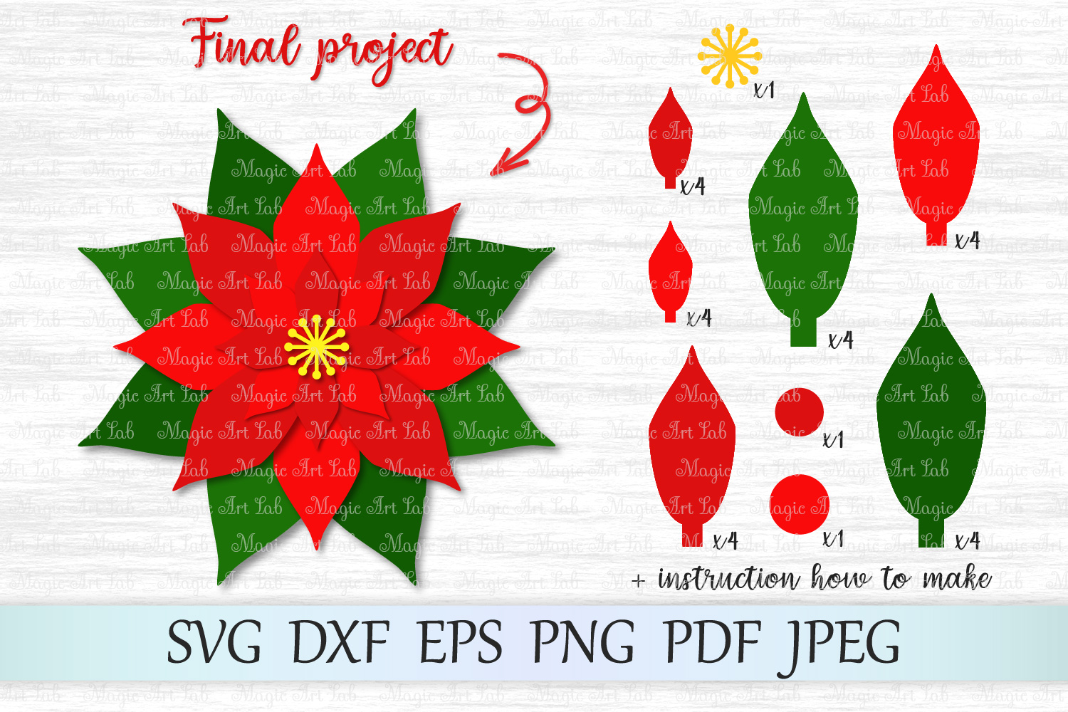 Download Free Christmas Poinsettia Graphic By Magicartlab Creative Fabrica for Cricut Explore, Silhouette and other cutting machines.