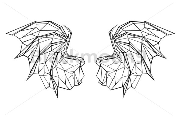 Polygonal Dragon Wings Graphic Illustrations By Blackmoon9