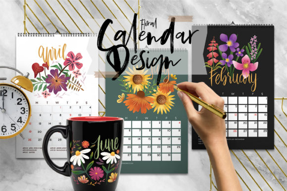 Print on Demand: Floral Design Calendar Graphic Print Templates By Caoca Studios