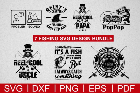 Download Free 7 Fishing Design Bundle Graphic By Artistcreativedesign for Cricut Explore, Silhouette and other cutting machines.