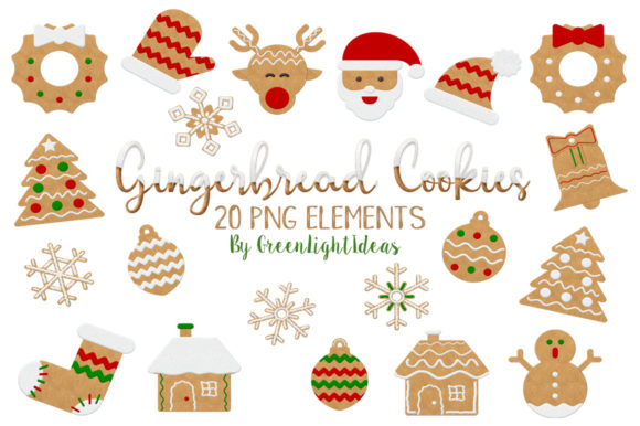 Download Free Christmas Gingerbread Cookies Clipart Graphic By Greenlightideas Creative Fabrica for Cricut Explore, Silhouette and other cutting machines.