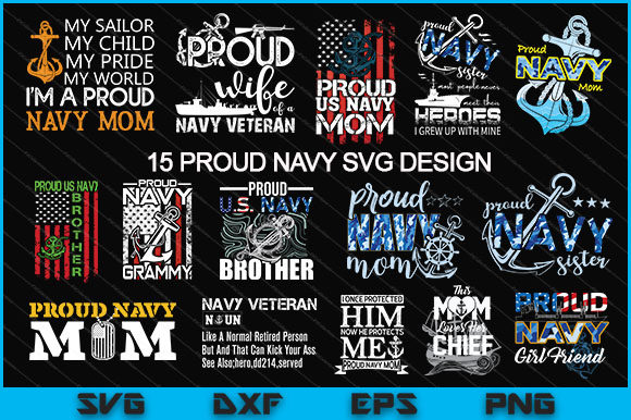 Download Free 15 Proud Navy Svg Design Bundle Graphic By Artistcreativedesign for Cricut Explore, Silhouette and other cutting machines.