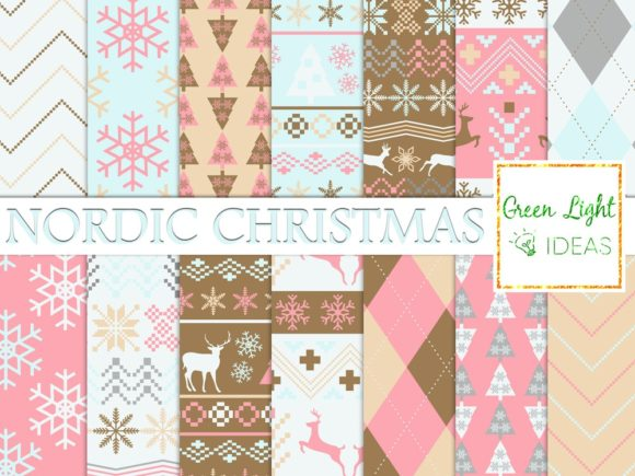 Nordic Winter Christmas Backgrounds Graphic Backgrounds By GreenLightIdeas