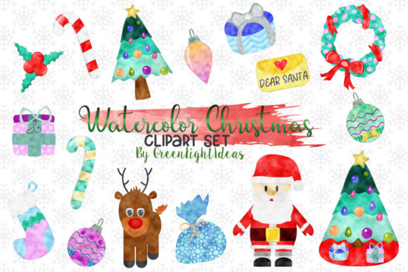 Watercolor Christmas Holidays Clipart Graphic Illustrations By GreenLightIdeas - Image 1
