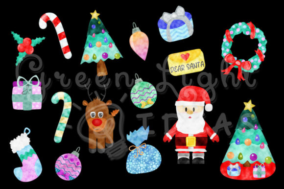 Watercolor Christmas Holidays Clipart Graphic Illustrations By GreenLightIdeas - Image 2