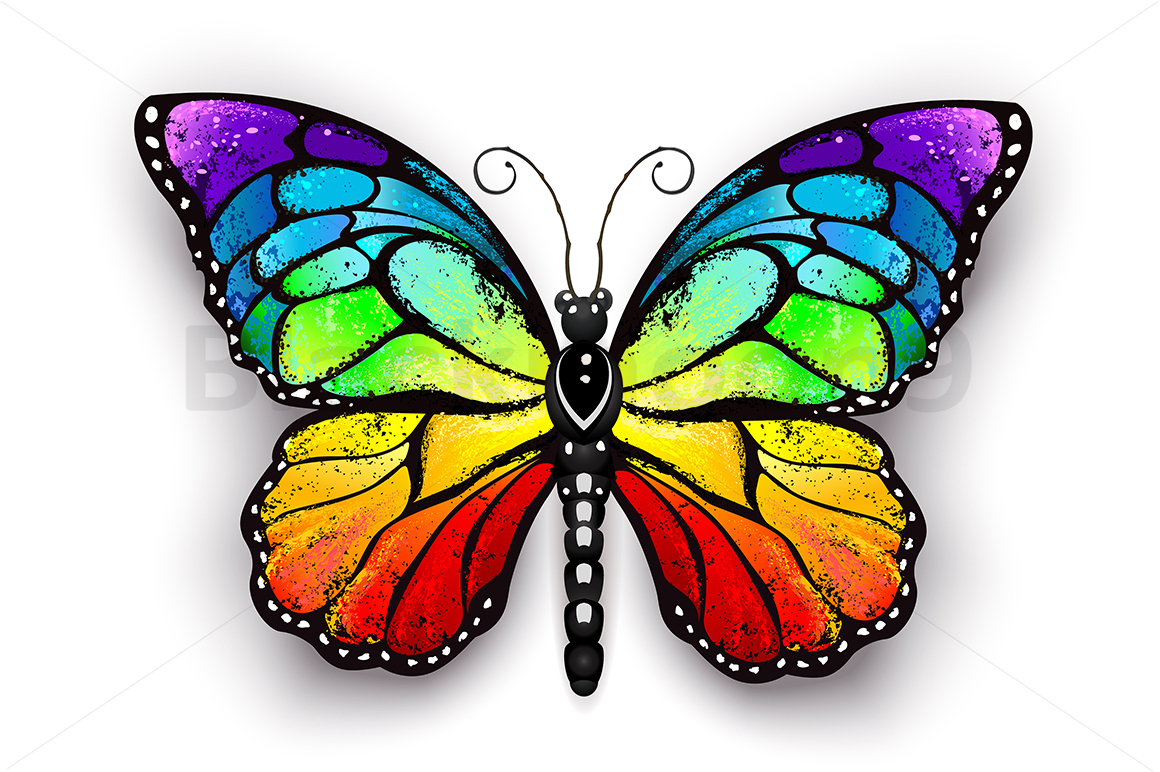 Rainbow Monarch Butterfly (Graphic) By Blackmoon9