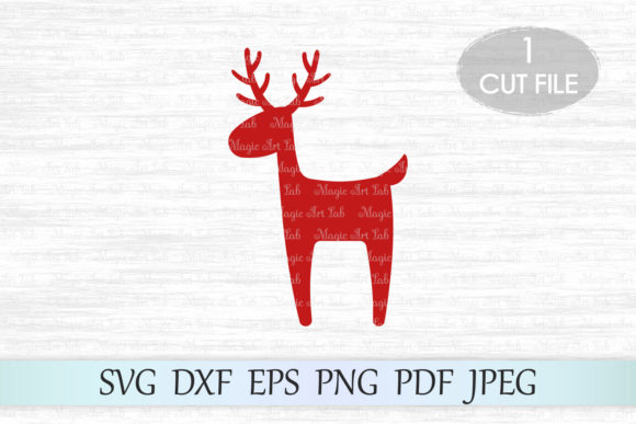 Download Free Christmas Reindeer Graphic By Magicartlab Creative Fabrica for Cricut Explore, Silhouette and other cutting machines.