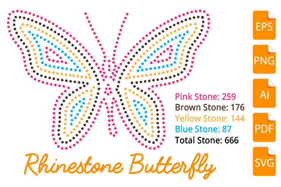 Print on Demand: Rhinestone Butterfly Design Graphic Print Templates By bsakib777