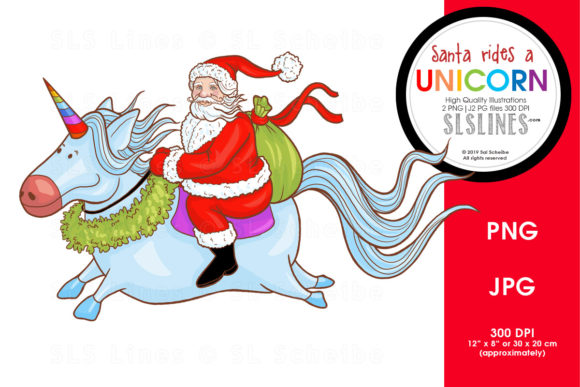 Print on Demand: Santa Rides a Unicorn Graphic Illustrations By SLS Lines